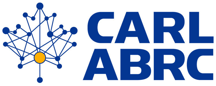 CARL Canadian Association of Research Libraries logo blue with maple leaf made up of lines and nodes
