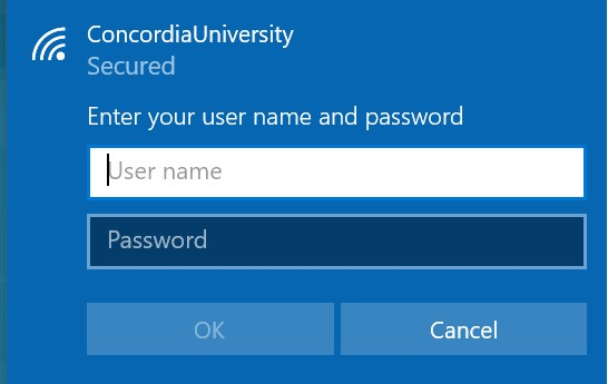 Enter your user name and password