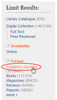Limit results to Academic Journals
