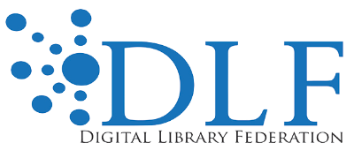 Digital Library Federation logo blue capital letters DLF with network of circles to the left of D