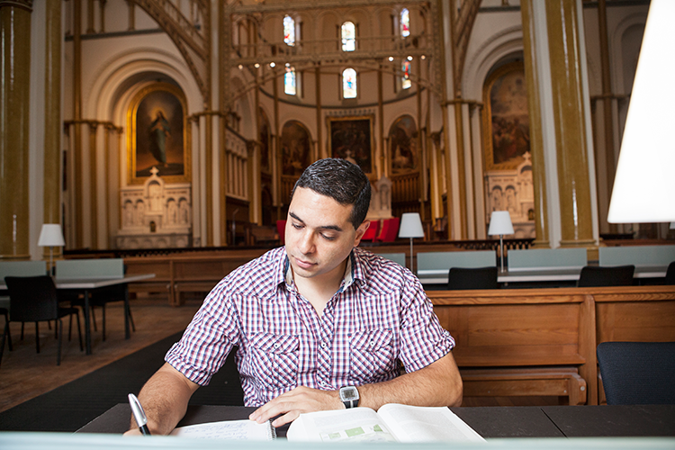 Student studying in the Grey Nuns Reading Room