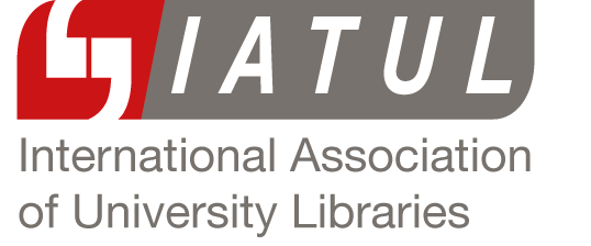 IATUL International Association of University Libraries red and grey logo with quotation marks inside the red