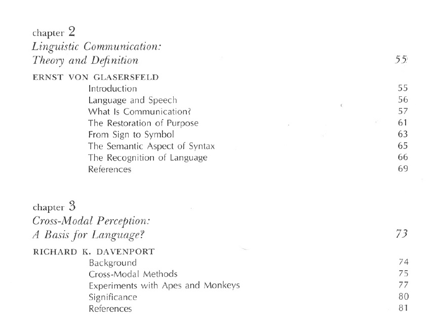 Language Learning by a Chimpanzee table of contents