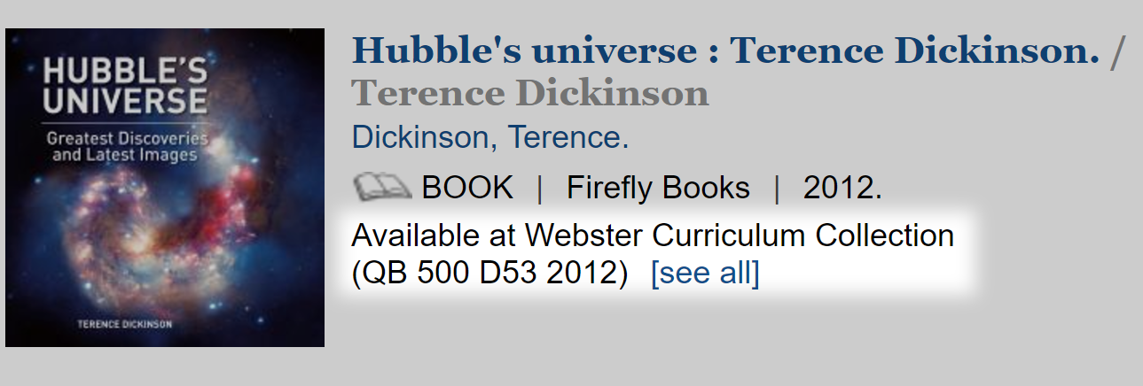 Hubble's universe: Terence Dickinson location