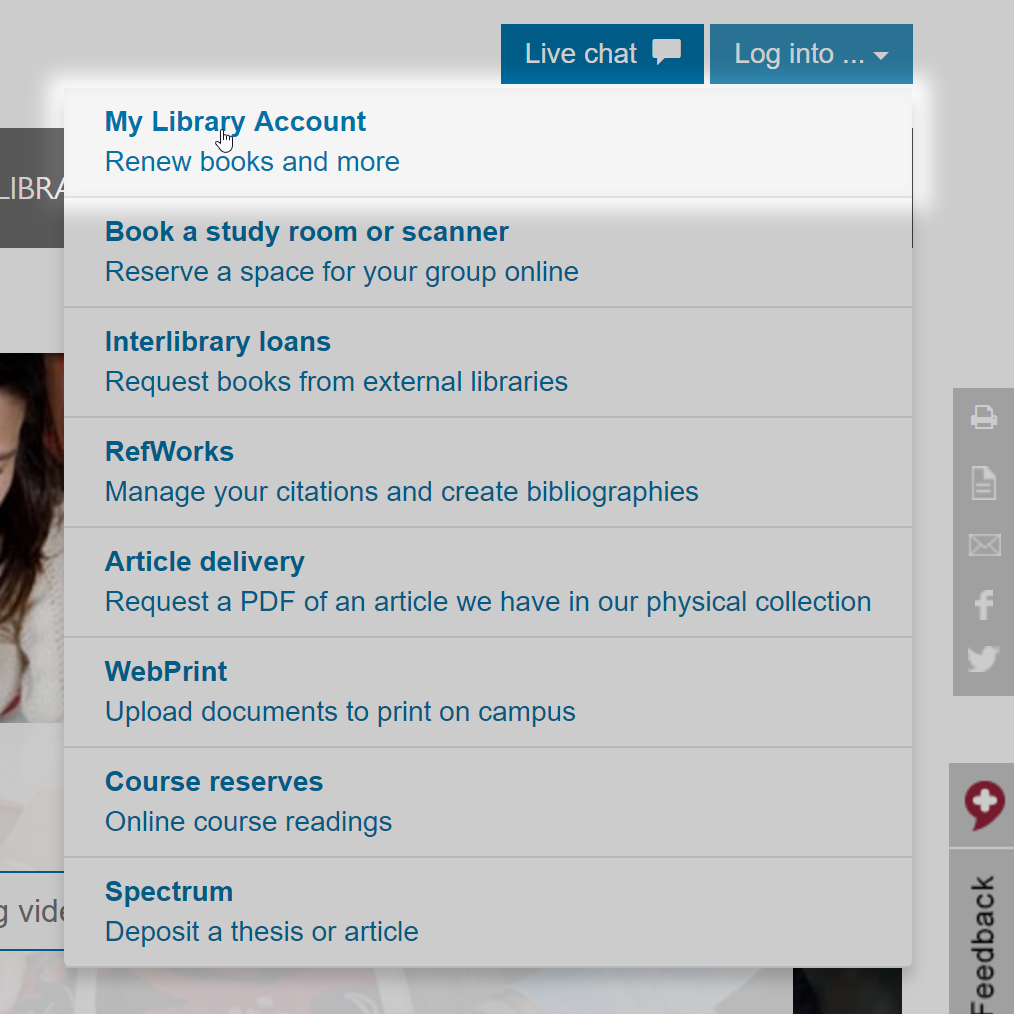 My Library Account option