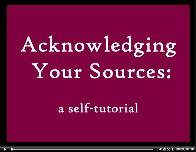 Acknowledging Your Sources video