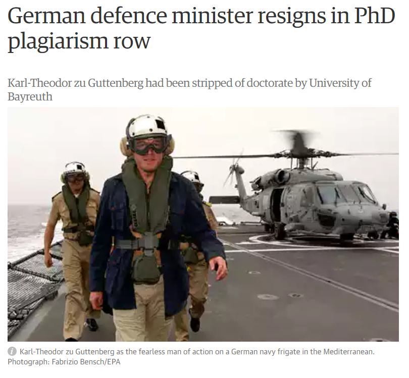 German defence minister resigns in PhD plagiarism row
